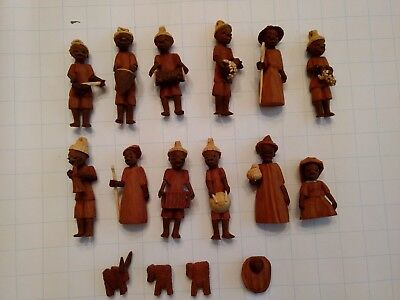 African Nativity Figures Carved Wood Set of 16
