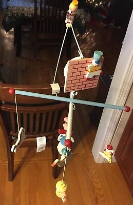 1970's Hand Painted Musical Mobile Wooden Vintage Humpty Dumpty Mother Goose