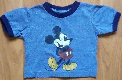 6M Baby Boy Girl Disney Parks Classic Mickey Mouse T Shirt with Dark Blue Trim