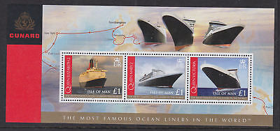 Isle of Man 2008 Mint MNH Minisheet Cunard Famous Ocean LIners Queen Mary QEII