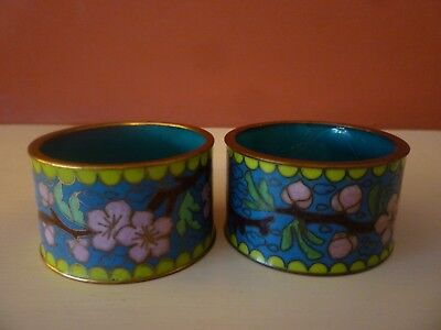 Pair Beautiful Colours Chinese Vtg Cloisonne Enamel Floral Napkin Rings
