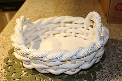 "Vintage Studio Nova Portugal White Porcelain heavy Weave Basket, 13"" x 10.5"""