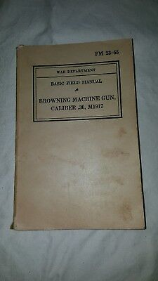 Lot of 3 WWII War Department Basic Field Manuals including Browning Machine Gun
