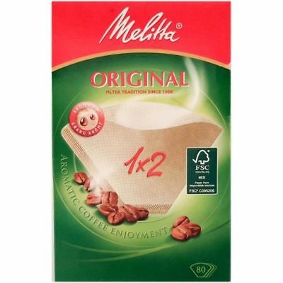 GENUINE MELITTA 1 x 2 Pack Of 40 BROWN ORIGINAL AROMAPOR COFFEE FILTERS