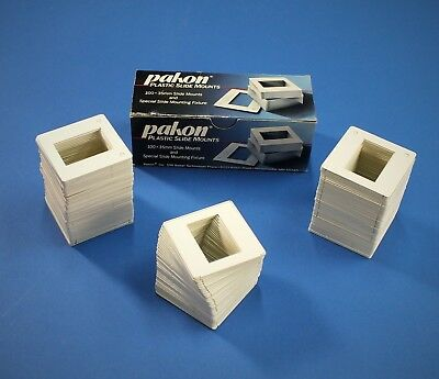 Pakon White Plastic Slide Mounts 35mm - lot of 232 mounts, New with hand mounter