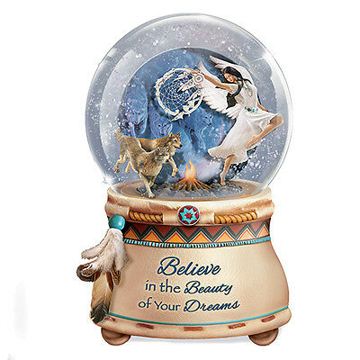 Mystical Dreams Native Girl with Wolf Wolves Gliltter Snow Globe / Water Globe