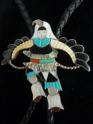 Vintage Zuni Eagle Dancer Kachina Bolo Tie/necklace Sterling W Multi-Stone Inlay