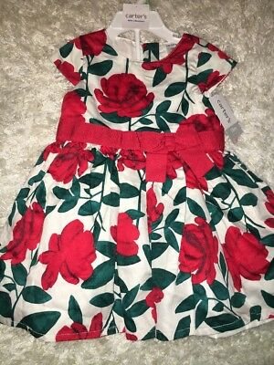 Carter's Baby Girls Floral White Red Print Cotton Dress 18M 18 months NWT