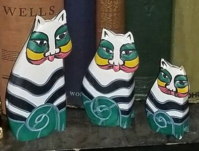 3 VINTAGE LAUREL BURCH WOODEN CARVED CAT FIGURINES HAND PAINTED warwaggon222