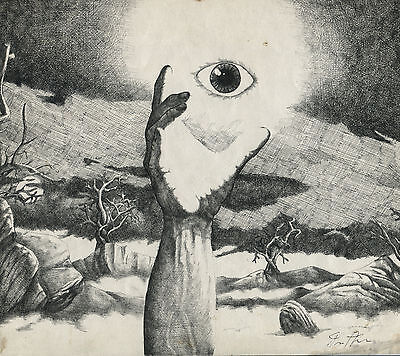 """Surrealist Ink Drawing """"Reaching For My Vision"""" Artist Theodore Arthur dtd 1980"""