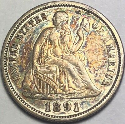 1891 Seated Liberty Dime 10c Silver High Grade Detail Toned (F504)