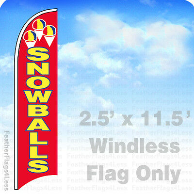 SNOWBALLS - Windless Swooper Feather Flag Shaved Ice Banner Sign 2.5x11.5' - rb