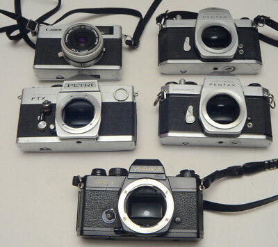 Lot 5 SLR Camera Bodies for Repair Display Parts Spotmatic Canonet Petri Yashica