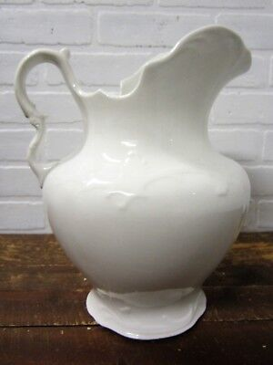 "Vintage Large 12"" K.T. Knowles White Ironstone Type Porcelain Water Pitcher"