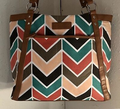 Overbroooke Chevron Pattern Classic Laptop Tote Shoulder Bag 17.5x13x4.5
