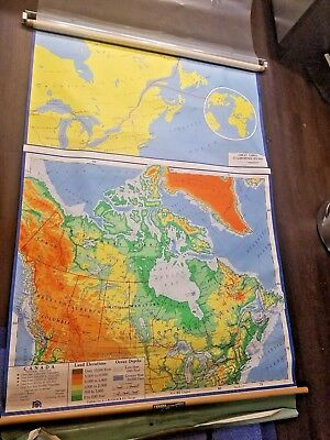 Vintage Nystrom 1967 School Canada Pull Down Wall Map Canvas & Overlay