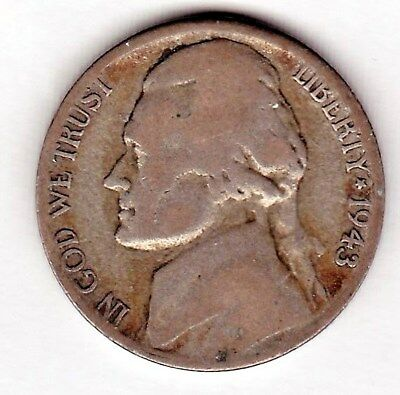 1943 S Jefferson nickel in AVERAGE CIRCULATED condition ( 35 %SILVER )stk s15