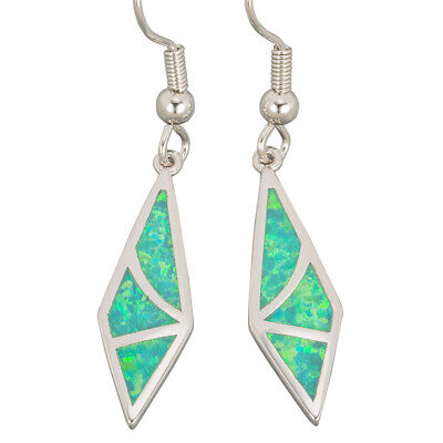 Rhombus Shape Kiwi Green Fire Opal Inlay Silver Jewelry Dangle Drop Earrings