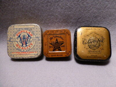 3 very old typewriter ribbon tins, Columbia, Webster, Popular Quality