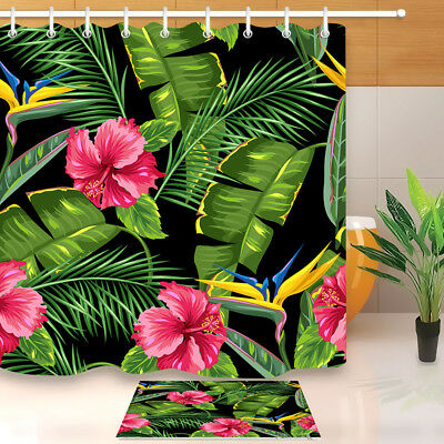 Tropical Leaves Palms bird of Paradise Flower Hibiscus Shower Curtain Waterpoof