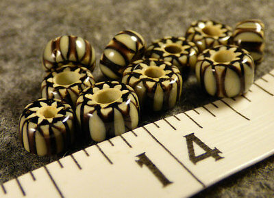 (10) Fur Trade Era Indian 6 Layer Chevron Glass Trade Beads Black White Very Old