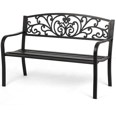 New Patio Park Garden Bench Porch Path Chair Outdoor Deck Steel Frame New I50