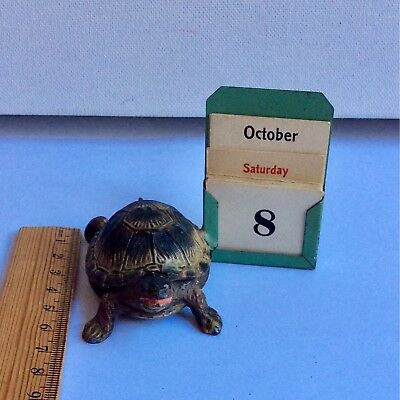 Antique Calendar Desktop Novelty Tin Metal Toy Turtle Tortoise Vintage