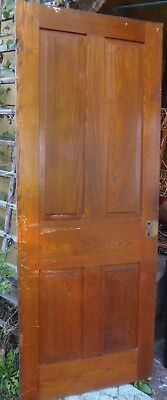 1860's  Interior House Door Raised Panel Chestnut Wood 4 Panel 79 1/4 x 31 3/4