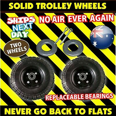 "2 x 250mm (10"") Heavy Duty Trolley Wheel 16mm  SOLID Tyres 4.10/3.50-4 tyre tire"