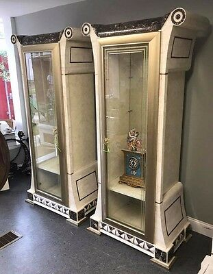 Pair Fancy Italian Inspired Mid Century Modern Inlay Marble Curio China Cabinet