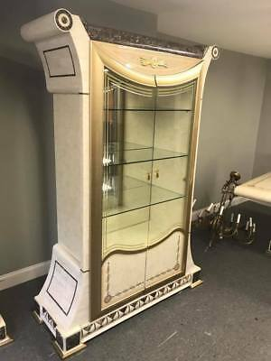 Fancy Italian Inspired Mid Century Modern Inlay Marble Curio China Cabinet