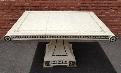 Fancy Italian  Inspired Mid Century Modern Inlay Marble Dining Table