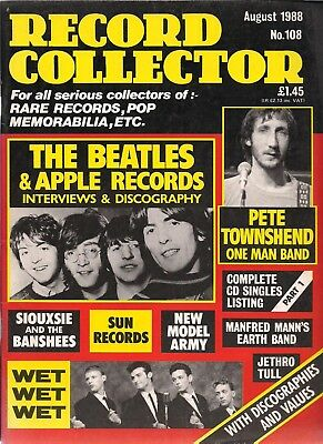 Record Collector  #108  August 1988  BEATLES, Pete Townshend, Jethro Tull