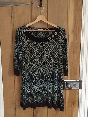 Joe Browns Size 16 Tunic Top 3/4 Length Sleeves Blue Black Green