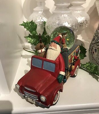 Williraye Studio Keep on Truckin Santa Claus Reindeer Truck Christmas Figure