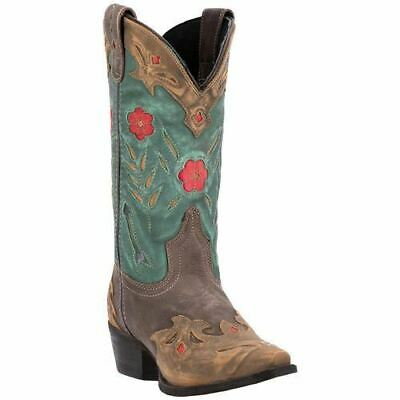 """NEW LAREDO Kate Brown//Teal All Leather 11/""""  Womens Snip Toe Boots 52138  NIB"""