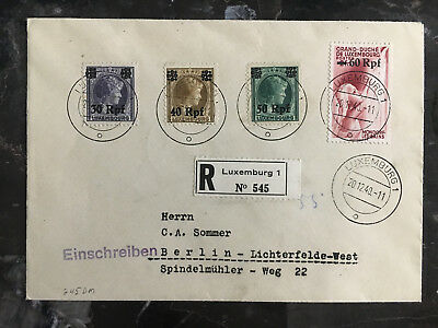 1940 Luxembourg Occupation Cover to Berlin Germany Registered