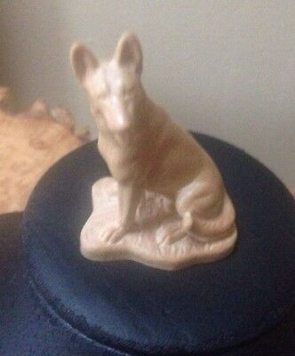 Lepi Wood Hand Carved Dog German Shepherd Natural Finish Italy