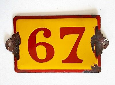 Antique Vintage French Enamel Porcelain Door House Gate Number Sign Plate 67