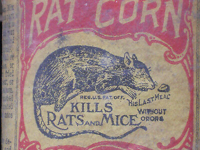 NOS UNOPENED Vintage c.1900 Rat Corn Rat Mouse Mice POISON Can Farm Feed Sign 63