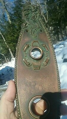 ANTIQUE VINTAGE ORNATE Bronze Door Plate Signed Russell & Erwin 945 P