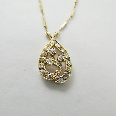 Vintage Antique 14k Yellow Gold Old European Cut Diamond Pendant and Chain