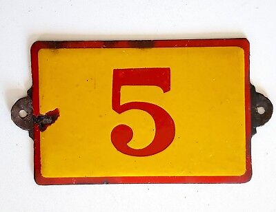 Antique Vintage French Enamel Porcelain Door House Gate Number Sign Plate 5