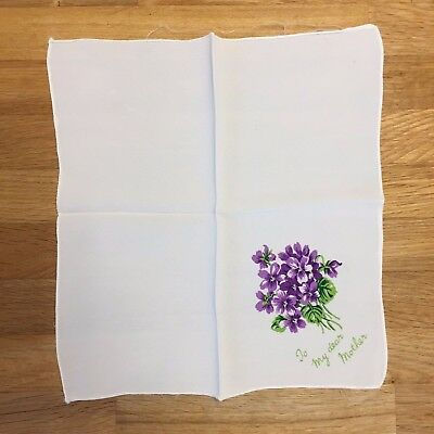 """Vintage Silk Crepe Handkerchief - Pretty Bunched Violets """"To My Dear Mother"""""""
