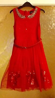 Girls Next Signature Red Sequin Bows Party Dress  7 Years