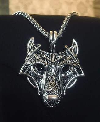 Norse Wolf Pendant Necklace Fenrir Viking Nordic Silver Celtic Keel Chain Head