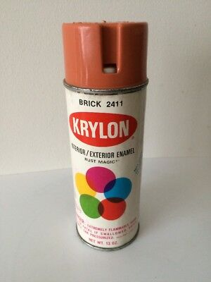 Vintage Krylon Spray Paint Can Brick 2411 With Paper Label And Pry Top.