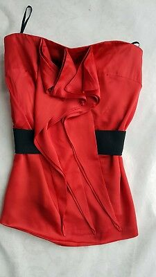 Reiss red corset top with black stretch belt size 4