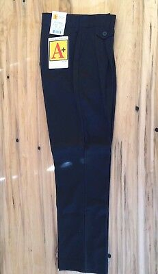A+ School Apparel Girls Uniform 7121 Front Pleated Pocket Black Pants