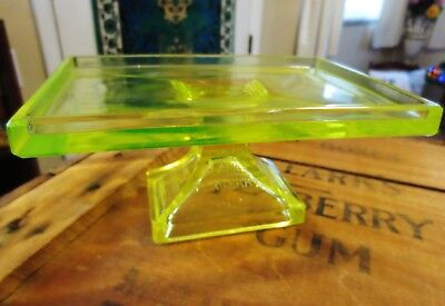 Antique Yellow Vaseline Glass General Store Display Stand-CLARK'S TEABERRY GUM